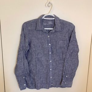Muji Linen Blue/White Vertical Stripe Shirt